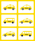 Set of yellow taxi car icon Stock Photo