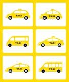 Set of yellow taxi car icon Stock Photo