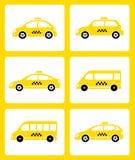 Set of yellow taxi cars Royalty Free Stock Photos