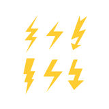 Set of yellow thunder bolts. Set of thunder bolts on white background Royalty Free Stock Images