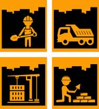 Set yellow urban building industrial icons Stock Images