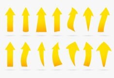Set yellow vector popular arrow sticker isolated origami ribbon stock illustration