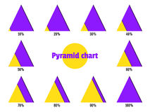 Set of yellow violet diagonal layer pyramid charts. Elements for infographics. Vector Stock Image