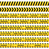 Set of yellow warning ribbons Stock Photo