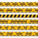 Set of yellow warning tapes Stock Photo