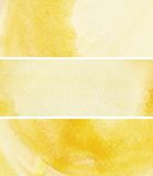 Set of yellow watercolor banners for your design Stock Image