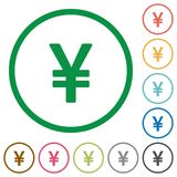 Yen sign outlined flat icons. Set of yen sign color round outlined flat icons on white background Stock Images