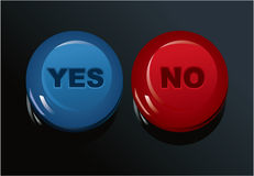 Set of Yes/No buttons Stock Photography