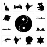 Set of yin yang, star david, afro, india, chameleon, montana, london skyline, maryland outline, in black, raccoon icons. Set Of 13 simple editable icons such as Royalty Free Stock Photo