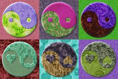 Set of Yin-yang symbol generated textures Royalty Free Stock Photo