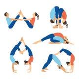 Set of yoga asanas for couple yoga on a white backdrop. Royalty Free Stock Image