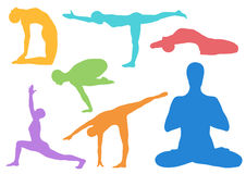 Set of yoga asanas. Royalty Free Stock Image