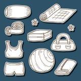 Set of yoga equipment stickers Stock Photos
