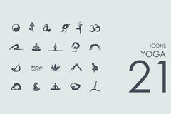Set of yoga icons Stock Photo