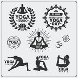 Set of yoga labels, logos and design elements for yoga or fitness studio. Stock Images