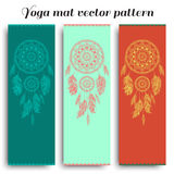 Set of yoga mat with dreamcatcher vector pattern Stock Photo