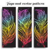 Set of yoga mat vector pattern Stock Photography