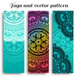 Set of yoga mats with ethnic designs. Turquoise, rainbow gradient and black vector pattern with mandala. royalty free stock photos