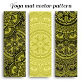 Set of yoga mats with ethnic designs. Green and black vector pattern with mandala. royalty free stock photo