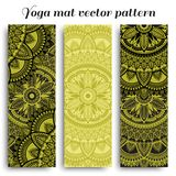 Set of yoga mats with ethnic designs. Green and black vector pattern with mandala. stock image