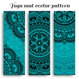 Set of yoga mats with ethnic designs. Turquoise, blue and black vector pattern with mandala royalty free stock photo