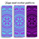 Set of yoga mats with ethnic designs. Turquoise, purple and black vector pattern with mandala royalty free stock image