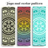 Set of yoga mats with ethnic designs. Turquoise, rainbow gradient and black vector pattern with mandala royalty free stock photo