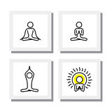 Set of yoga and meditation postures - vector icons. Royalty Free Stock Photos