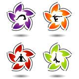 A set of yoga and meditation symbols Stock Photos