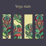 Set of yoga, pilates, meditation mats with indian hand drawn floral ornament. Stock Photo