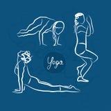 Set Of Yoga Poses. Blue Background Royalty Free Stock Images