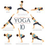Set of 8 yoga poses in flat design . Woman figures exercise in blue sportswear and black yoga pant for yoga infographics. Vector Illustration Stock Photos
