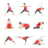 Set of 9 Yoga poses for Pregnant women. Prenatal exercise. Vector illustration Stock Photo