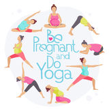 Set of Yoga poses for Pregnant women. Prenatal exercise. Vector illustration Stock Photography