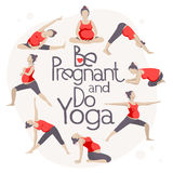 Set of Yoga poses for Pregnant women. Prenatal exercise. Vector illustration Stock Images