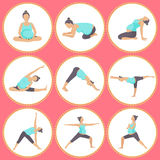 Set of 9 Yoga poses for Pregnant women. Prenatal exercise. Vector illustration Royalty Free Stock Images
