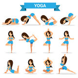 Set of Yoga positions design Stock Image