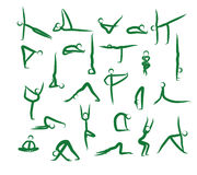 Set Of Yoga Positions. Green. Stock Images