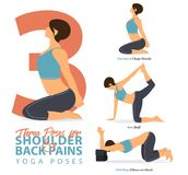 A set of yoga postures female figures for Infographic 3 Yoga poses for relief lower shoulder and back pain in flat design. Royalty Free Illustration