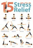 Set of yoga postures female figures for Infographic 15 Yoga poses for stress relieve in flat design. vector illustration