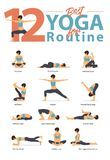Set of yoga postures female figures for Infographic 12 Yoga poses for routine workout in flat design. vector illustration