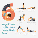 A set of yoga postures female figures for Infographic 6 Yoga poses to relieve lower back pain in flat design. Royalty Free Stock Photos