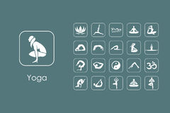 Set of yoga simple icons Royalty Free Stock Photos
