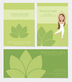 Set of yoga studio business cards. In green color with lotus icon. Vector eps10 Royalty Free Stock Photo