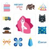 Set of yoga studio, century, snowman, drones, masquerade, pillow, happy thanksgiving, wolf face, free delivery icons. Set Of 13 simple editable icons such as Royalty Free Stock Images