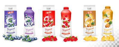 Set of yogurt in bottles  and boxes with fruit and berries. Stock Image