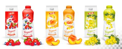 Set of yogurt in bottles  and boxes with fruit and berries. Royalty Free Stock Photography