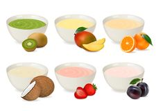 Set of yogurts in a porcelain plate with different fruits. Stock Photos