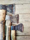 With this set you can go to the taiga. three hatchets for good company. stock image