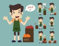 Set youg handlarz, sprzedaż mężczyzna przy targowym zakupy sklepem Obrazy Royalty Free